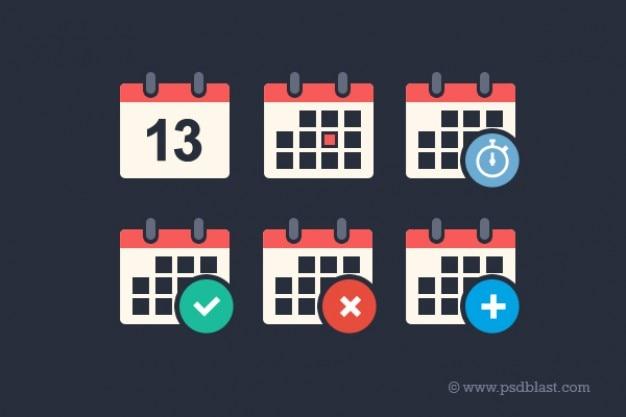 Flat calendar psd icon set Free Psd