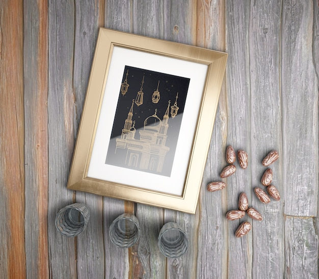 Flat lay arrangement with frame, dried dates and glasses Free Psd