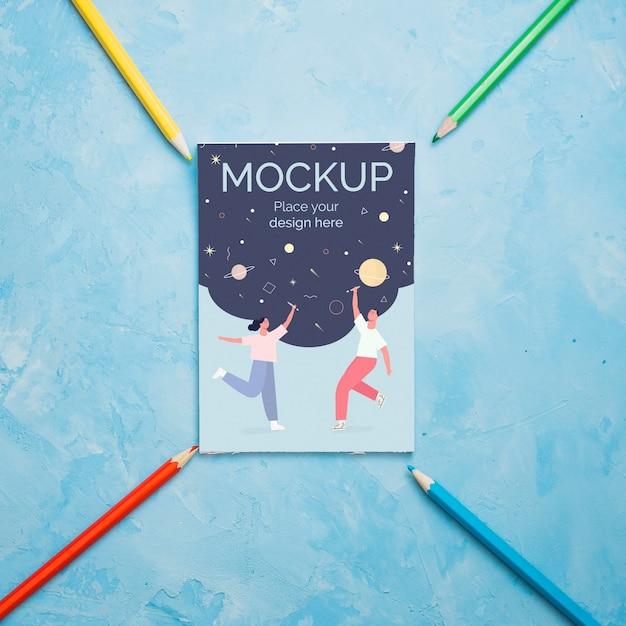 カードのモックアップとフラットレイアウトアーティストコンセプト品揃え 無料 Psd