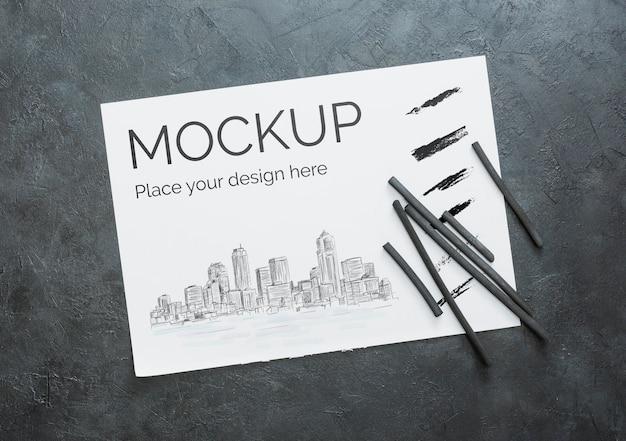 紙のモックアップとフラットレイアウトアーティストコンセプト構成 無料 Psd