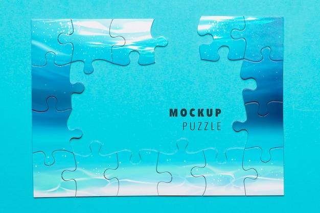 Assortimento piatto con puzzle incompleto Psd Gratuite