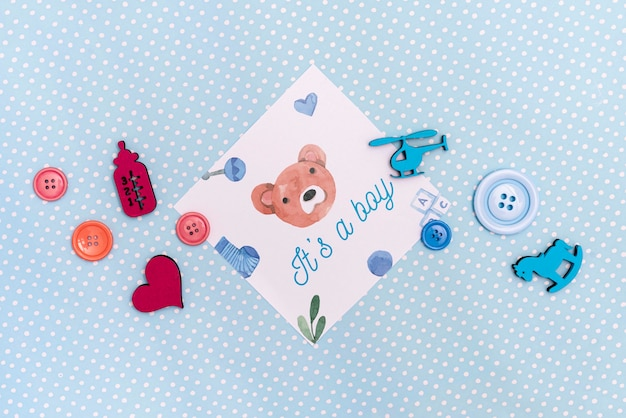 Flat lay of baby shower decorations Free Psd