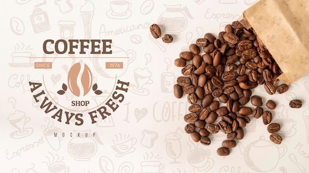 커피 콩 플랫 평신도 가방 프리미엄 PSD 파일
