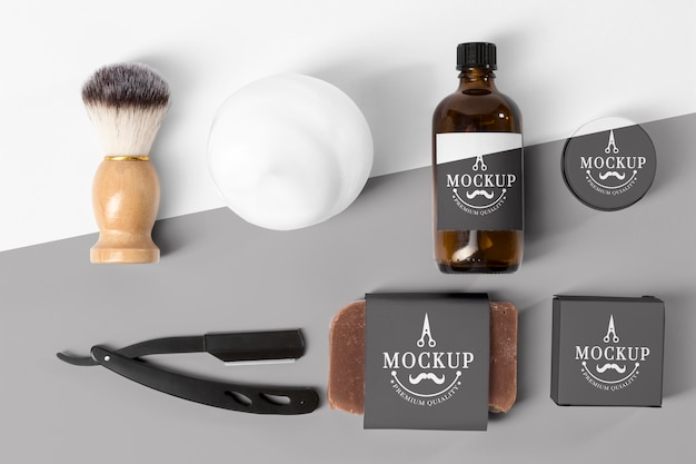 Lay piatto di strumenti da barbiere Psd Gratuite