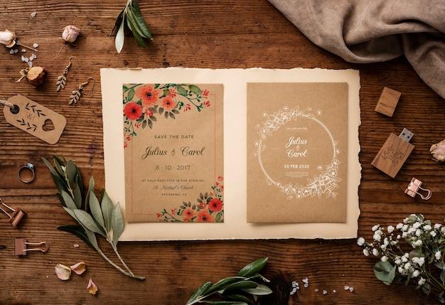 Плоский набор красивых свадебных элементов с пригласительным макетом Бесплатные Psd