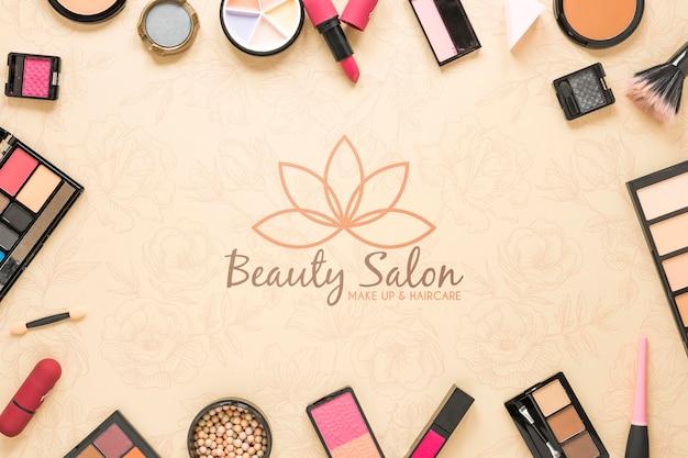 Flat Lay Beauty Salon Concept Free Psd File