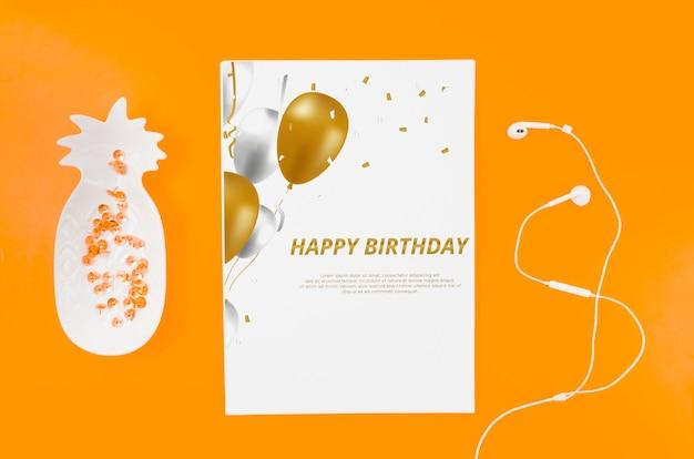 Flat lay birthday card mock-up Free Psd