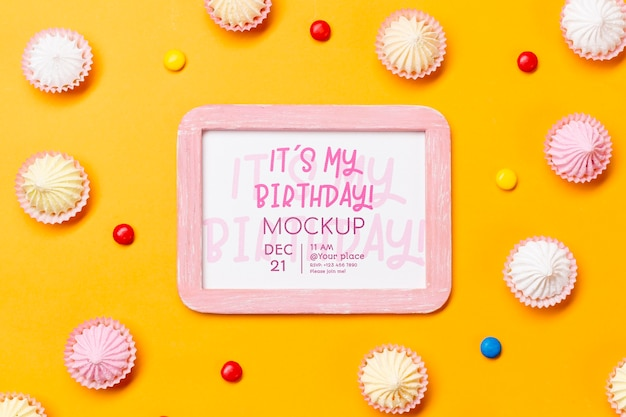 Flat lay birthday concept with frame Free Psd