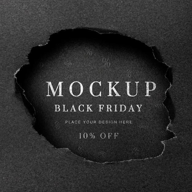 Flat lay black torn mock-up black friday Free Psd