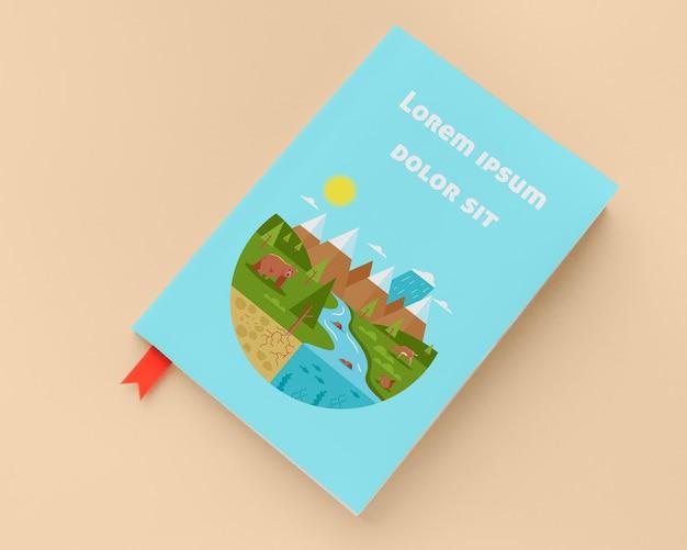 Плоский макет синей книги Бесплатные Psd