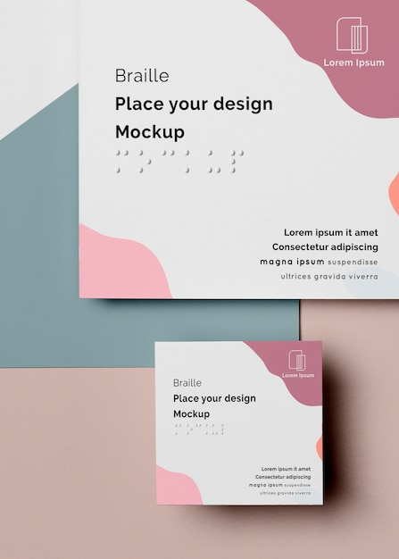 Flat lay of braille business card design Free Psd