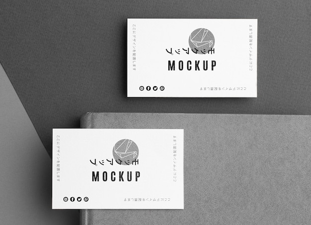 Flat lay business card mock-up Free Psd
