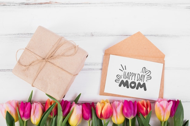 Flat lay card mockup for easter Free Psd