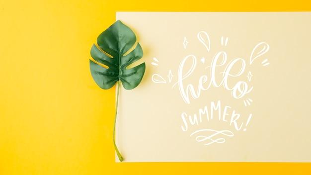 Flat lay card mockup for summer concepts Free Psd