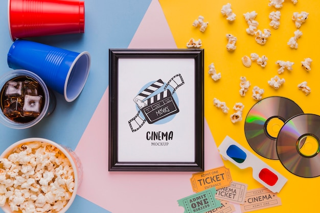 Flat lay cinema mock-up frame Free Psd