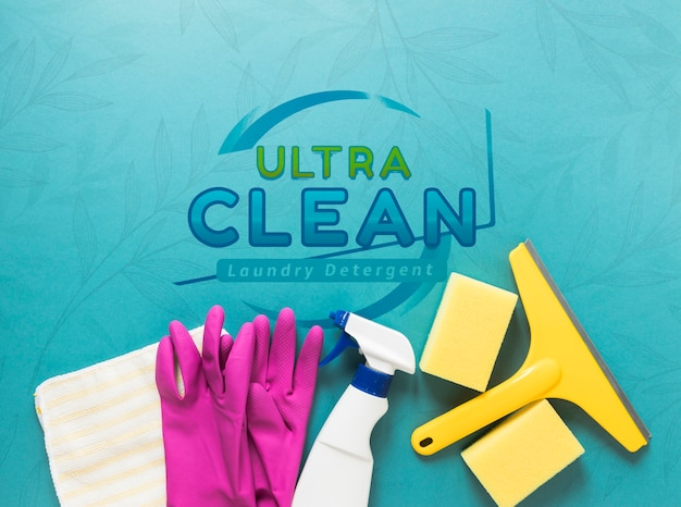 Flat lay cleaning service equipment Free Psd