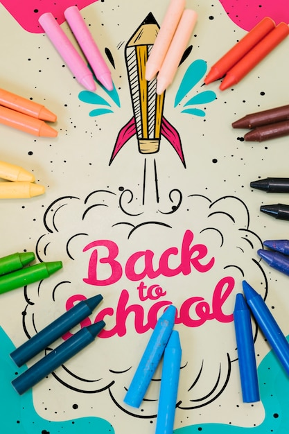 Flat lay colorful back to school mock-up Free Psd