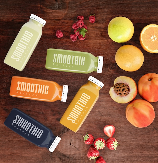 Flat lay colorful smoothies next to fruits mock-up Free Psd
