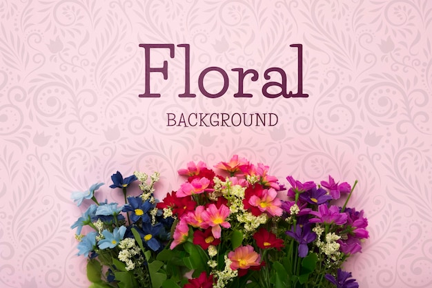Flat lay of colorful spring flowers Free Psd