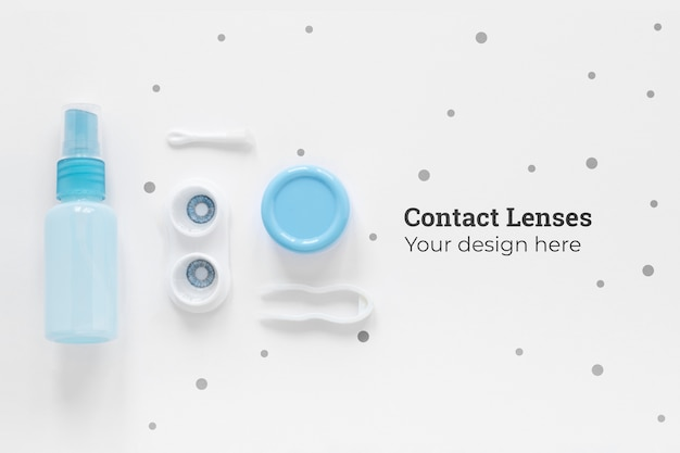 Flat lay contact lenses composition on white background Free Psd