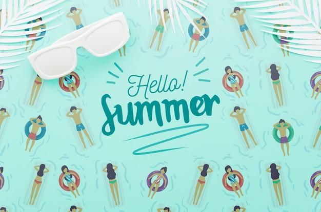 夏の概念のためのフラットレイアウトcopyspaceモックアップ 無料 Psd