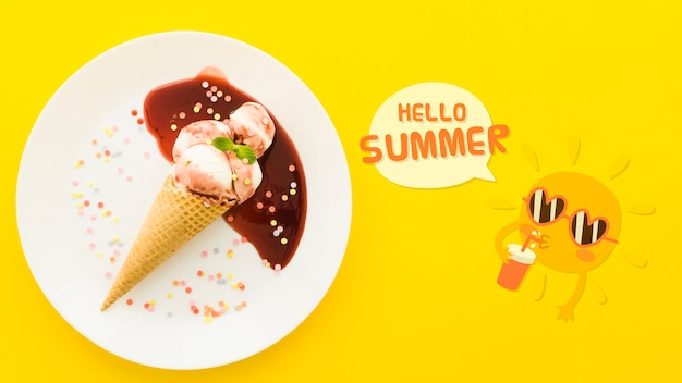 Flat lay copyspace mockup for summer concepts Free Psd