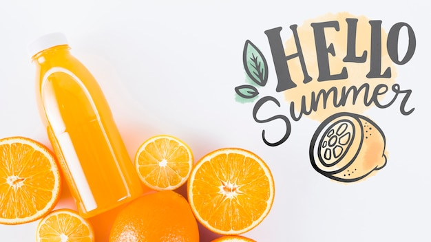 Flat lay copyspace mockup with summer fruits Free Psd