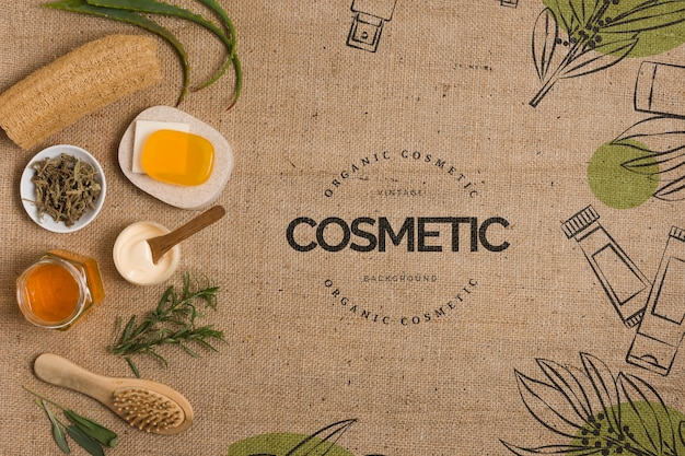 Flat lay cosmetic center template Free Psd