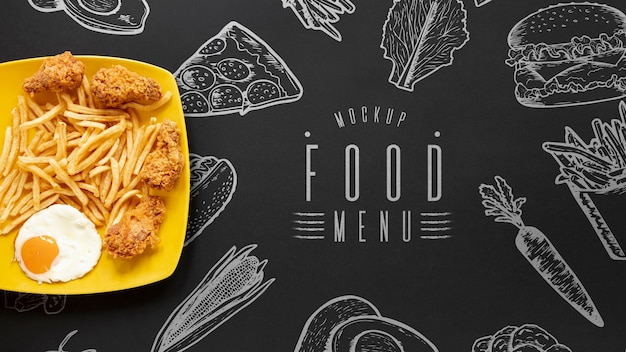 Flat lay of delicious food on black background Free Psd