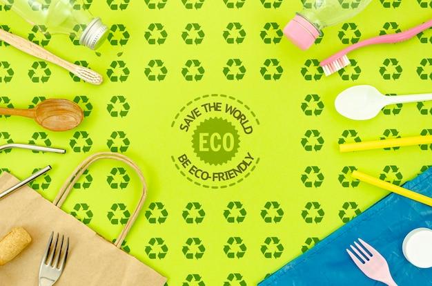 Flat lay eco-friendly tableware Free Psd