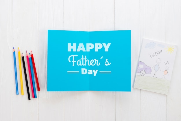 Flat lay of father's day concept Free Psd