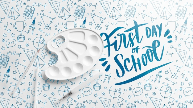 Flat lay first day of school event Free Psd