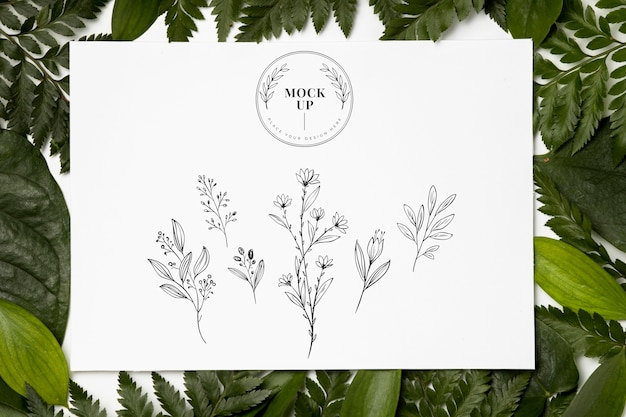 Flat lay of frame mock-up with leaves Free Psd