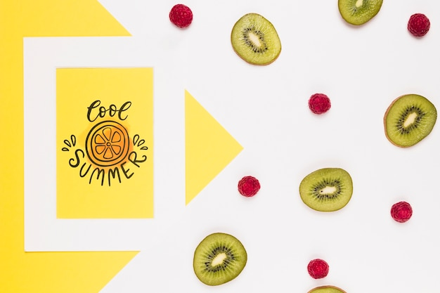 Flat lay frame mockup with summer fruits Free Psd