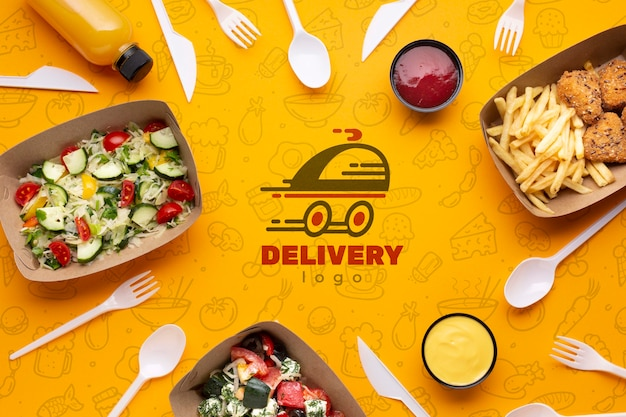 Flat lay free food service arrangement with background mock-up Free Psd