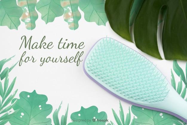 Flat lay of hair brush mock-up Premium Psd