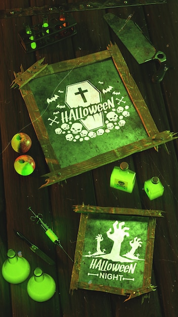 Flat lay halloween concept on wooden background Free Psd