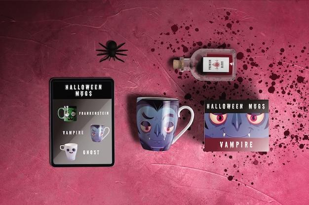Flat lay of halloween dracula concept Free Psd