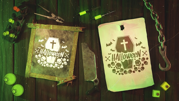 Flat lay halloween old frame and paper with hook Free Psd