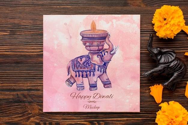 Flat lay happy diwali festival mock-up drawing and petals Free Psd