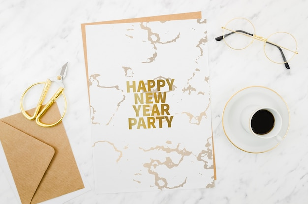 Flat lay happy new year card mock-up Free Psd