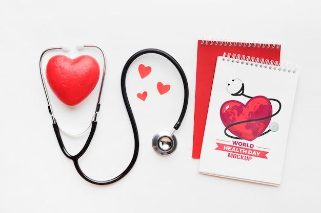 Плоский макет дня здоровья и сердца Бесплатные Psd