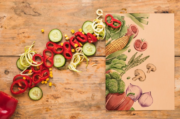 Flat lay of healthy food with card mockup Free Psd