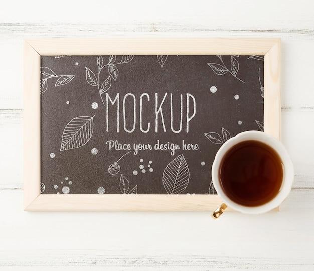 Flat lay of herbal tea concept mock-up Premium Psd