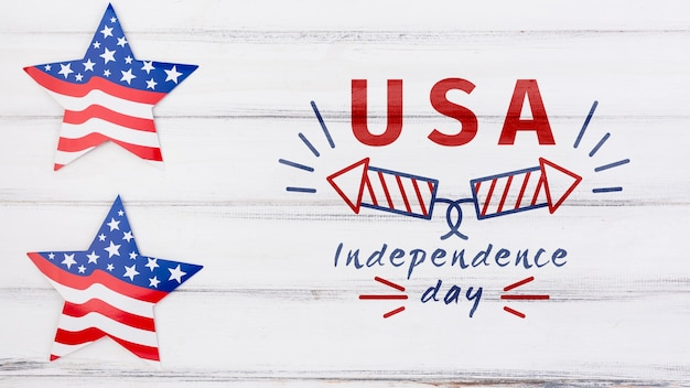 Flat lay independence day mockup with copyspace Free Psd