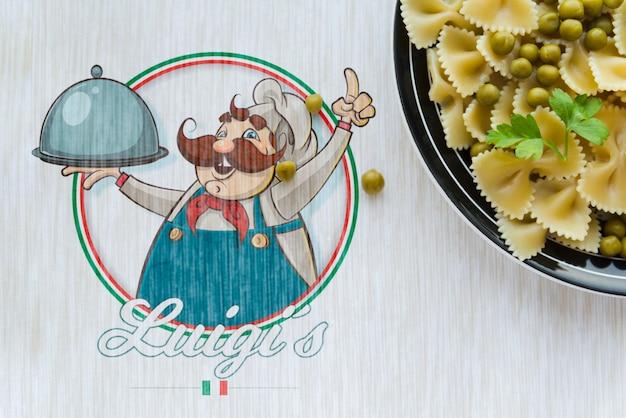 Flat lay italian food with mock-up logo Free Psd