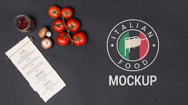 Плоское итальянское меню и ингредиенты Бесплатные Psd