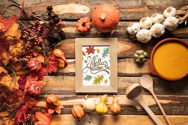 Flat lay kitchen utensils and flavorful autumn food Free Psd