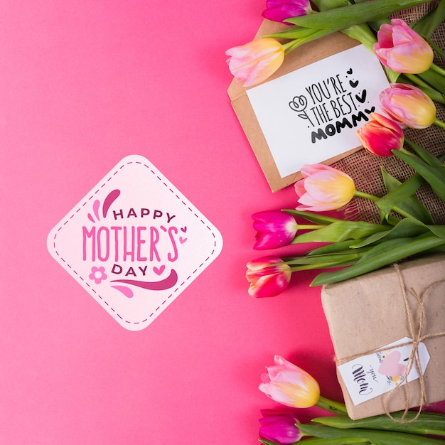 Flat lay label mockup for easter Free Psd