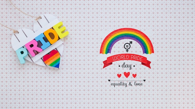 Flat lay lgbt pride composition with copyspace Free Psd